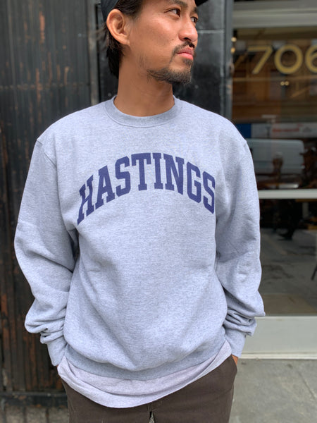 Tilted Brim for UC Hastings Champion crewneck sweatshirt -- grey