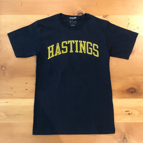 Tilted Brim for UC Hastings Hollow Arch T-Shirt -- navy w/yellow