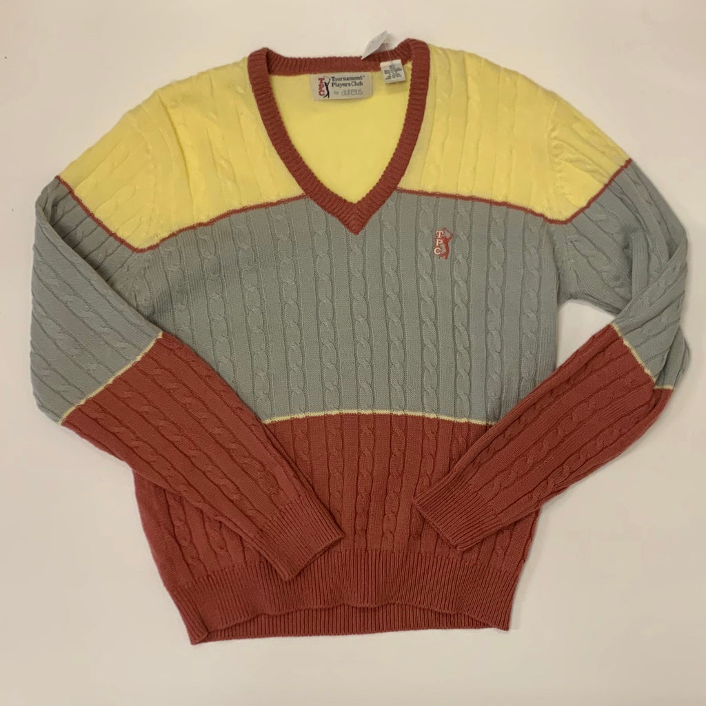 Vintage: 80's Player's Club V-Neck Cable Knit Sweater