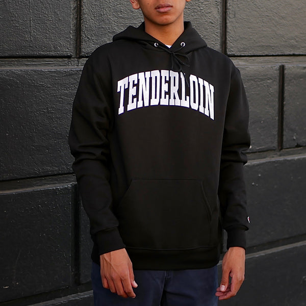 TENDERLOIN Champion arch hooded sweatshirt -- black