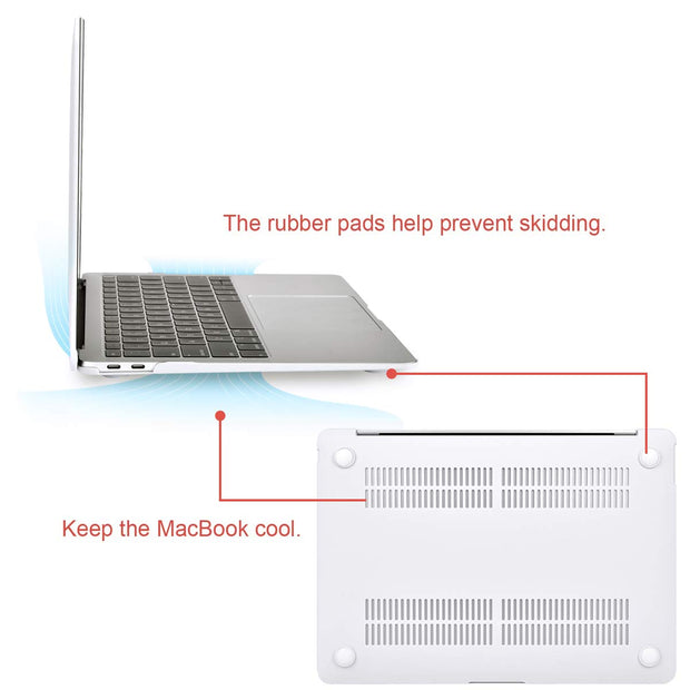 MacBook Air 13 Inch Case 2018 Release A1932 with Retina Display, Plastic Hard Case Shell & Keyboard Skin Cover Only Compatible Newest MacBook Air 13 with Touch ID With Logo Hole Cutout (WHITE)