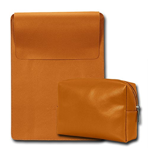 "15"" Vegan Leather Laptop Sleeve + Pouch"