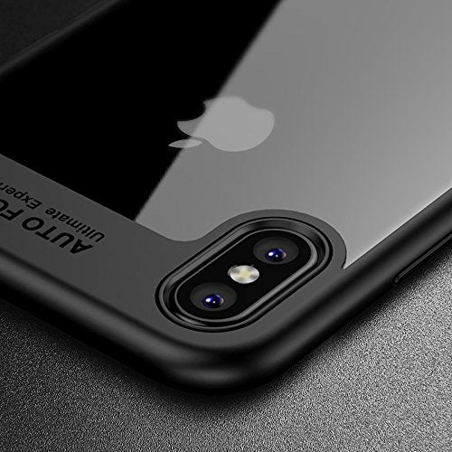 Transparent Soft TPU Auto Focus Black Back Case Cover for Apple Iphone X