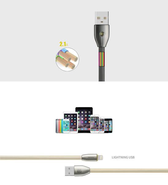 Cable - Lightning Charging Cable For Apple - Remax Knight Data USB Cable with Charging Indicator With Auto Power Cut for to prevent Over Charge