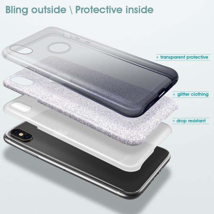Glitter Silicone Slim Back Case Cover for Samsung Note 8