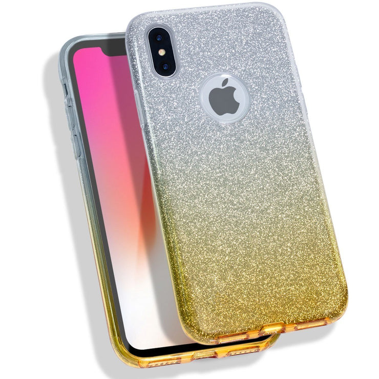 Glitter Silicone Slim Back Case Cover for Apple iPhone 8 with hole