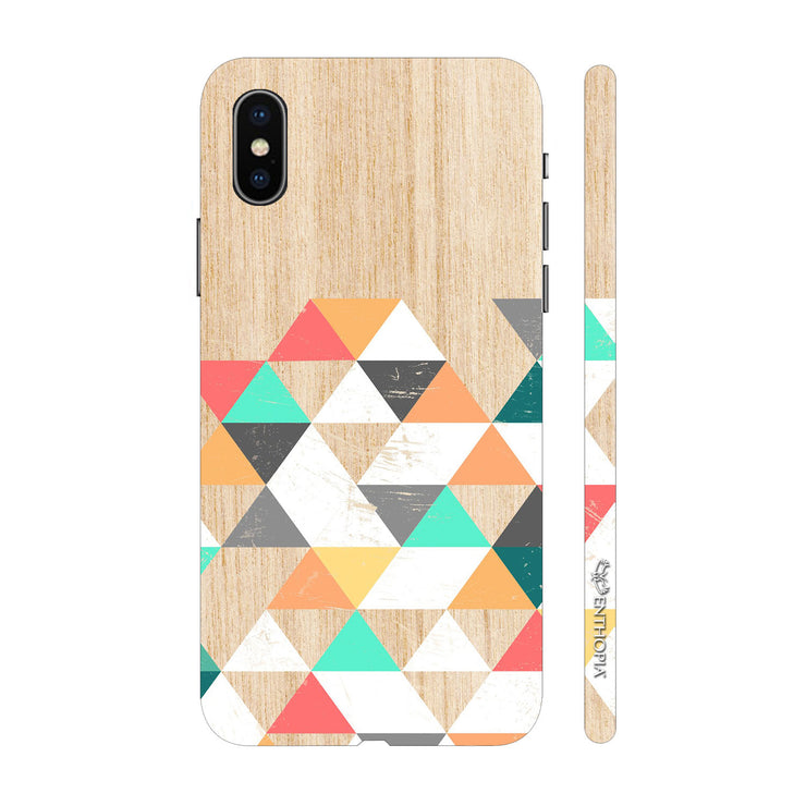Hardshell Phone Case - Wooden Coloured Triangle 1