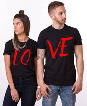 Couple Half Sleeve Round Neck T-Shirt - Love