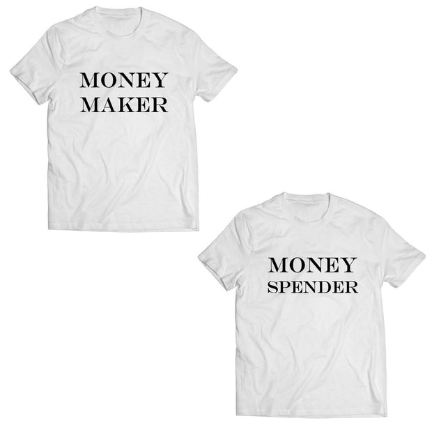 Couple Half Sleeve Round Neck T-Shirt - Money Maker