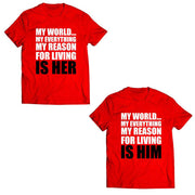Couple Half Sleeve Round Neck T-Shirt - My World