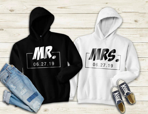 Couple Hoodie - Mr/Mrs Date  (Black & White)