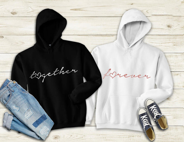 Couple Hoodie -  Together Forever (Black & White)