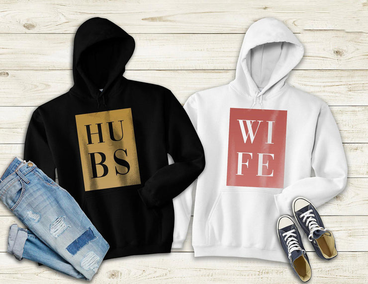 Couple Hoodie - HUBS WIFE  (Black & White)