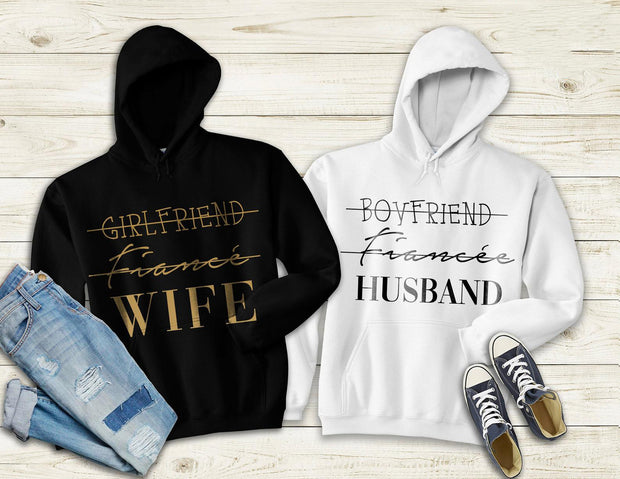Couple Hoodie - Wife - Husband  (Black & White)