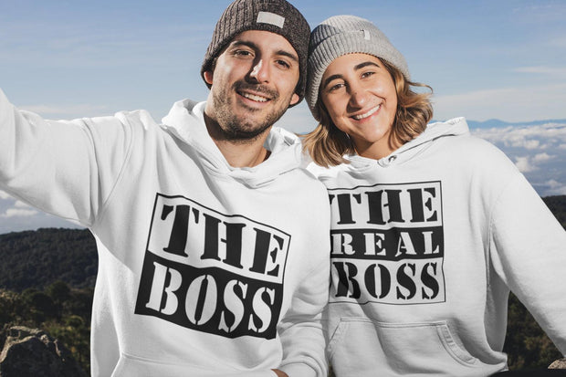 Couple Hoodie - The Real Boss  (White)