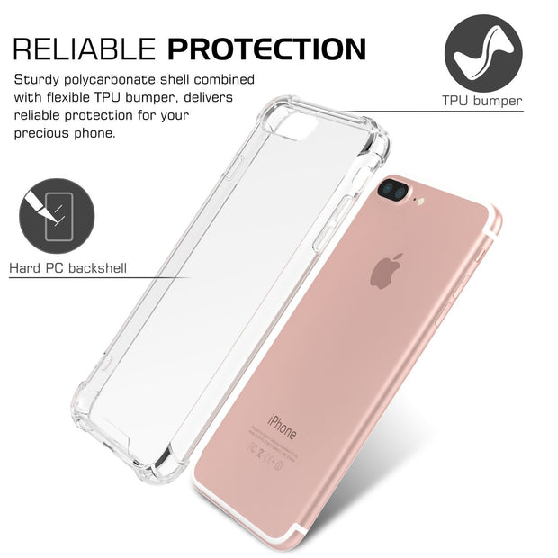 Enthopia Clear Transparent Corner Protection Soft TPU Slim Back Case Cover for Apple iPhone 7 Plus