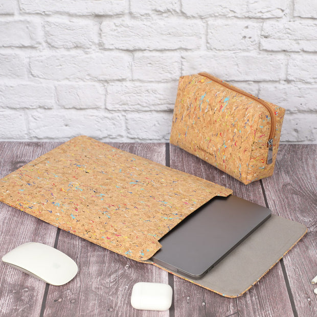 "13"" Cork Laptop Sleeve with Pouch"