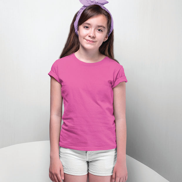 Girls Half Sleeves Round Neck-Plain