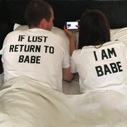 Couple Half Sleeve Round Neck T-Shirt - Babe