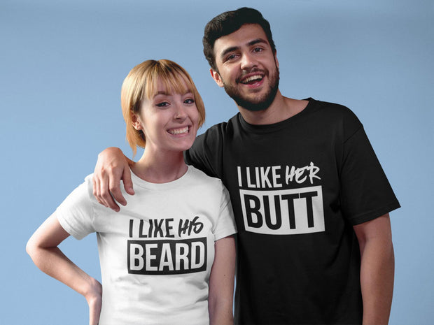 Couple Half Sleeve Round Neck T-Shirt - Beard
