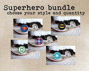 Set of 7 superhero cufflinks bundle, cool gifts for men, wedding silver plated or black cuff link Captain America