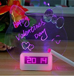MSGBRD - Cute Kitty Shape LED Message Board and Smart Alarm Clock