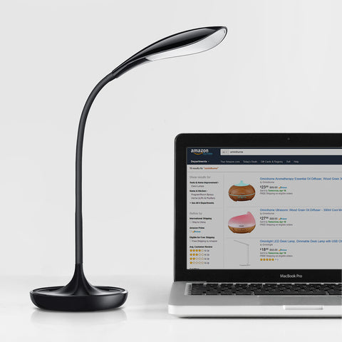 Dimmable LED Desk Lamp Gooseneck Touch Sensor Piano Black