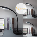 Ominilight Dimmable LED Desk Lamp, Folding Gooseneck Desk Lamp with USB Charging Port, Touch Sensor, Piano Black