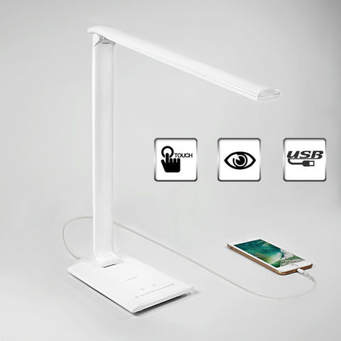 Desk Lamp, Dimmable LED Desk Lamp with USB Charging Port