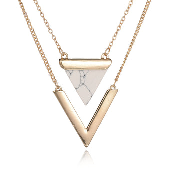 Geometric Triangle Faux Marble Stone Pendant Necklace