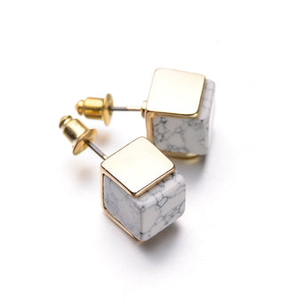 18K Gold Plated Geometric White Marbled Faux Stone Stud Earrings