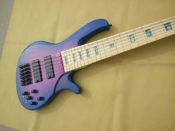 free shipping 6 string custom purple finish bass Prestige flame mapleEMG  active Electric Bass Guitar