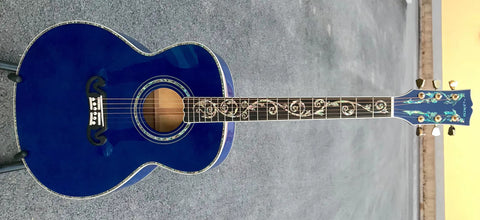 hot free shipping best jumbo Blue flame maple wood acoustic Guitar Solid ebony Guitarra Customized acoustic 43 inch Jumbo guitar