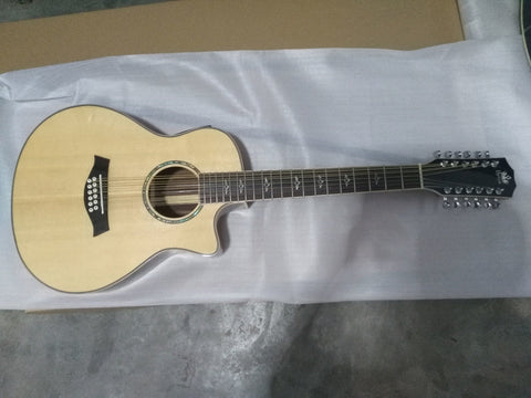 free shipping cutaway GA body 36 inches travel 12 guitars best quality solid 12 string travel acoustic electric guitar