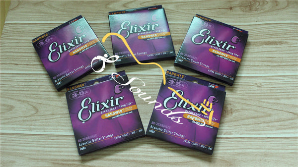 12 sets/lot free shipping Elixir 11002 Acoustic guitar strings Nanoweb extra thin (010-047) with anti-rust point steels wholesale