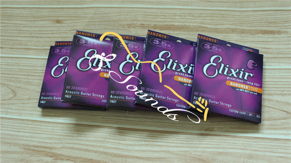 12 sets/lot wholesale free shipping hot sale Elixir 11027 Acoustic guitar strings Nanoweb ultra thin coating .011 to .052,dropship