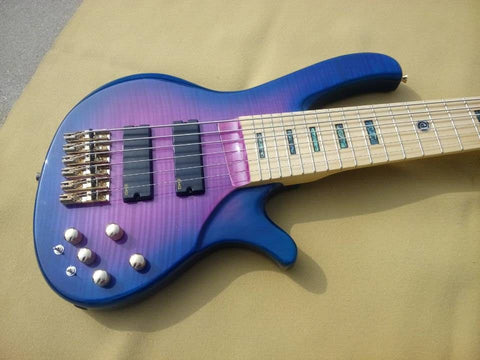 free shipping  6 strings bass guitar bolt-on purple finish bass 9V battery pickup EMG active circut wire bass