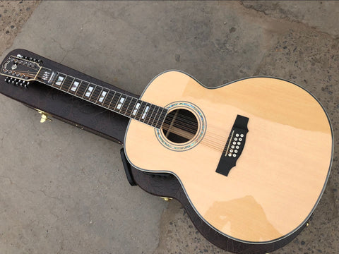 free shipping top quality solid top custom guild jumbo 12 strings gloss finishing acoustic electric guitar 12 string guitar