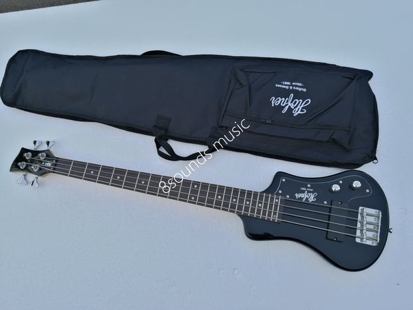 free shipping black hofner shorty bass 4 Strings custom hofner mini travel bass left handed bass guitar