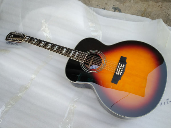 free shipping sunburst color 12 strings guild guitar best quality solid 12 string jumbo electric acoustic guitar