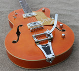 free shipping Orange Flame maple top GT Jazz Electric Guitar with Bigsby Tremolo bridge Semi Hollow Body Jazz Guitar