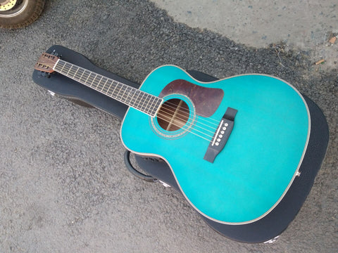 top quality free shipping free hardcase OOO15 style body guitar satin blue customize Byron produce acoustic electric guitar