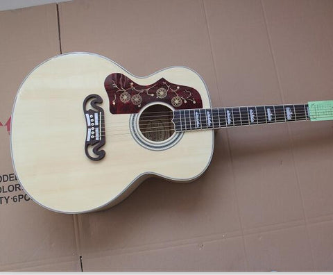 free shipping left handed J200 acoustic jumbo guitar natural color guitar