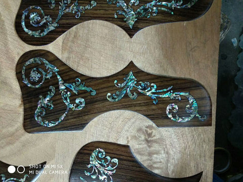 free shipping 1pc high quality Deluxe abalone inlay rosewood pickguard Folk Acoustic fancy Guitar pickguard