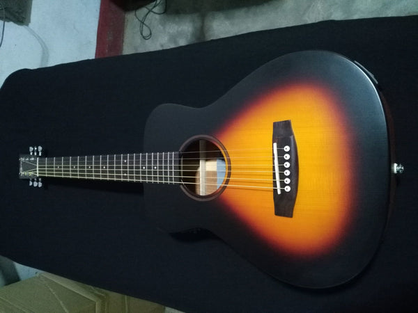 "free shipping Top quality 34"" traveling solid acoustic guitar new sunburst satin finishing carry acoustic mini guitar"