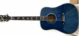 free shipping custom dreadnought blue maple wood Factory custom 41'' 45 D pearl inlay and binding solid top acoustic guitar
