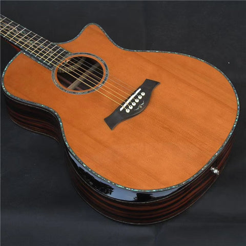 Black-yellow Sandalwood Chaylor PS14 acoustic guitar Real abalone cedar top armrest SP14 acoustic electric guitar
