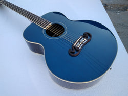 free shipping Byron Elite Limited Custom parlor guitar 38 inches one piece neck gloss blue finishing acoustic electric Guitar
