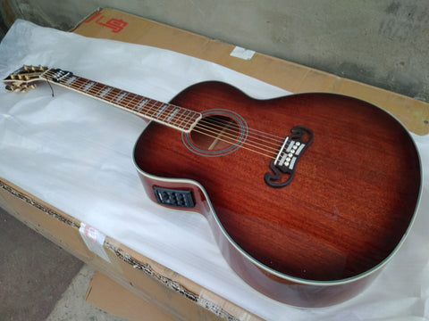 free shipping mahogany wood jumbo body Byron guitar fishman 301 gloss finish handmade details acoustic electric guitar