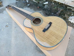free shipping AAAA handmade all Solid guitars OM body guitar imported wood soundhole EQ acoustic electric guitar